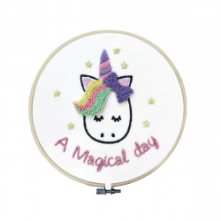 KIT COMPLET LICORNE TAMBOUR A BRODER PUN