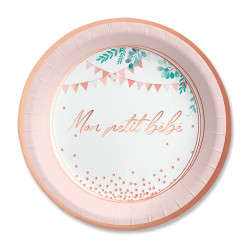 ASSIETTES x6  BABY SHOWER FILLE