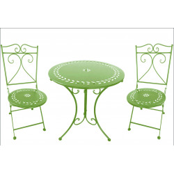 """SET TABLE+2 CHAISES """"BISTROT"""" VERT"""