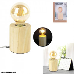 LAMPE A POSER CYLINDRE BOIS CABLE GRIS E