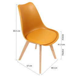 CHAISE SCANDI COQUE JAUNE + ASSISE REMBO