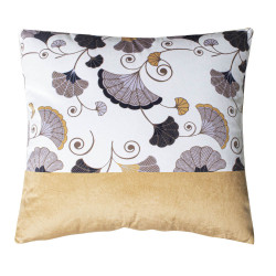 COUSSIN GINKO VELOURS BLANC ET MOUTARDE