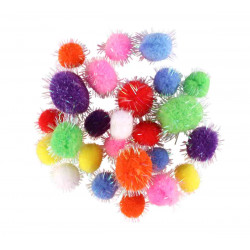 ASSORTIMENT 25 POMPONS GLITTER - TAILLES